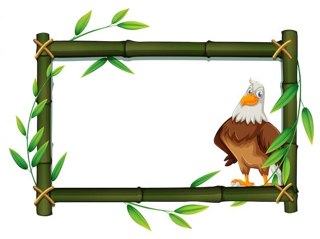 An eagle on bamboo border