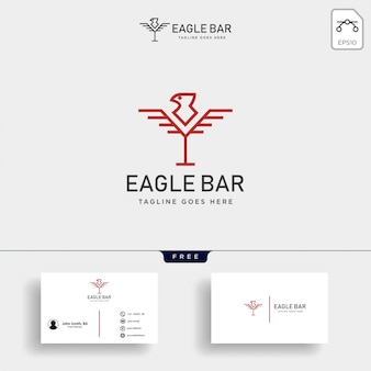 Eagle bar drink premium logo template vector illustration