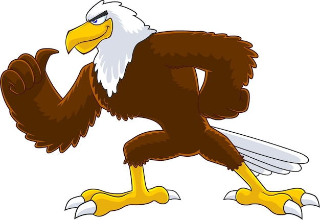 Eagle bird cartoon character illustration isolated