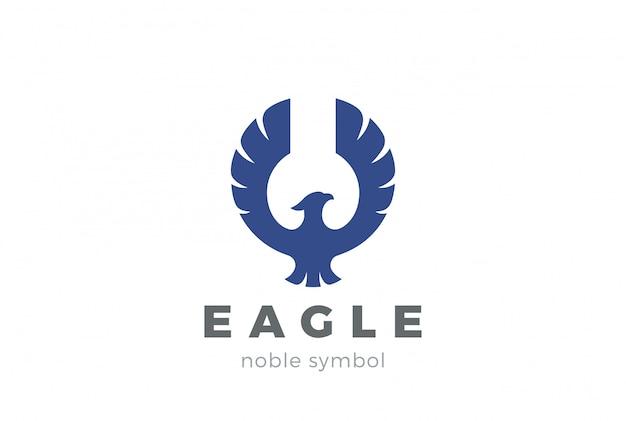 Eagle bird logo abstract design business template. flying soaring falcon, hawk, phoenix logotype concept icon.