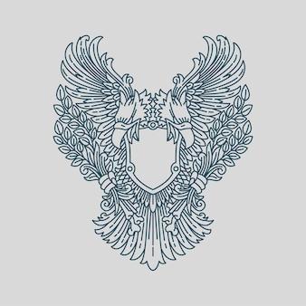 Орел птица монолайн броневой щит классический орнаментальный декоративный