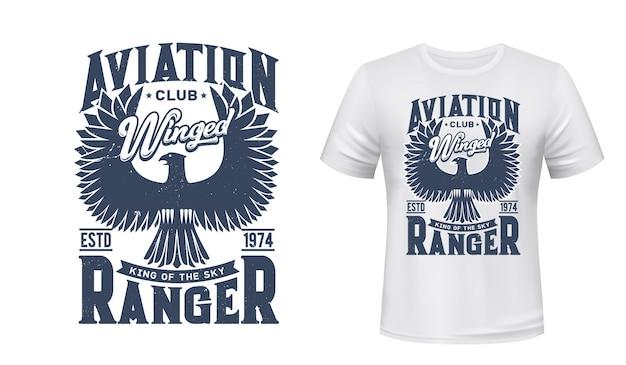 航空クラブの鷲鳥tシャツプリント