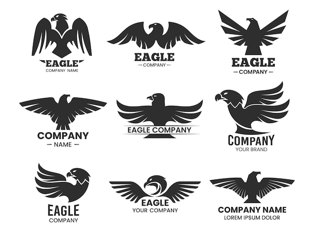 イーグルブラックのシルエット。タカの頭と会社名の孤立したロゴのセットです。