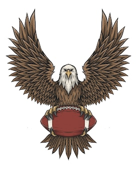 Eagle catching football ball in vintage handdrawn style