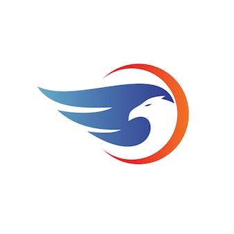 Eagle in crescent shape logo vector