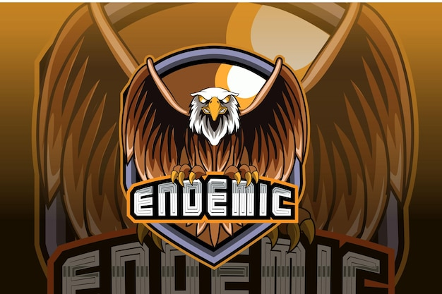 Eagle e sport and sport mascot logo design in modern illustration concept
