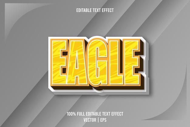 Редактируемый текстовый эффект орла 3-х мерное тиснение в мультяшном стиле