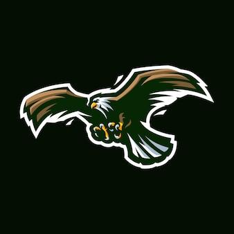 Орел киберспорт талисман мультфильм логотип вектор шаблон