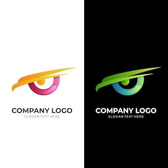 Логотип eagle eye, орел и глаз, комбинированный логотип с красочным 3d-стилем