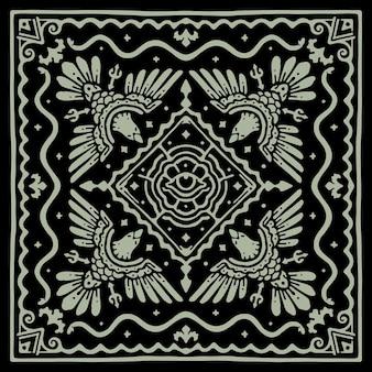The eagle eyes vintage pattern bandana