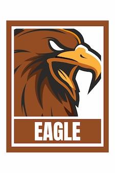 Изолированная иллюстрация рамки дизайна лица орла