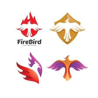 Набор логотипов с изображением орла-сокола и птицы-феникса