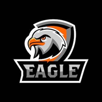 Eagle falcon head face esport logo gaming team squad vector