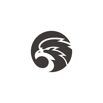 Силуэт головы орла и сокола и дизайн логотипа иллюстрации круга