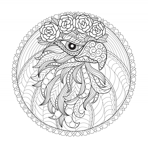 Eagle and flower coloring page for adults