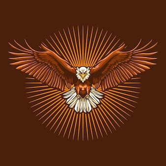 Eagle fly illustration on dark background