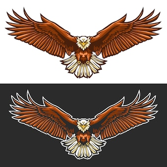 Eagle fly illustration design isolated