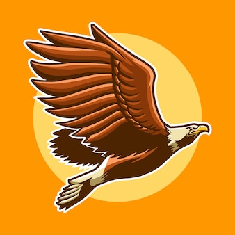 Eagle fly with sun illustration design