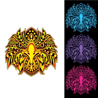 Eagle from abstract decorative pattern with glow in the dark color set