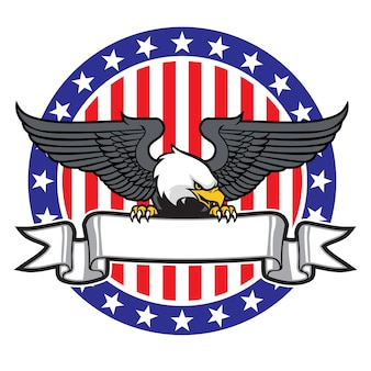 Eagle grip a ribbon with us flag as background
