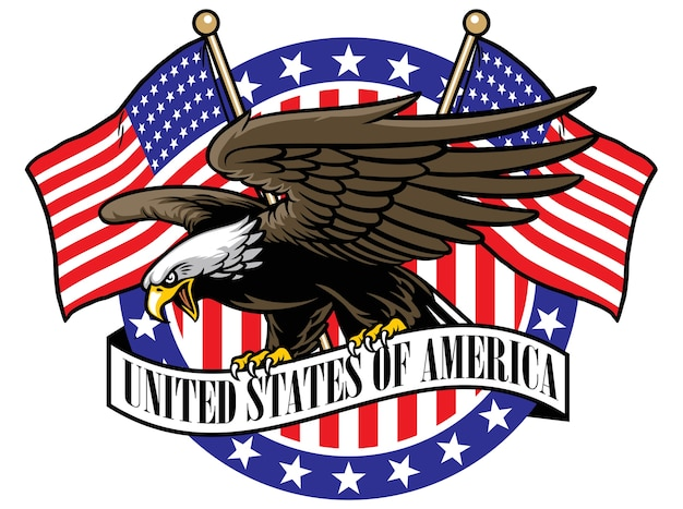 Eagle grip the usa ribbon sign with the flag as a background