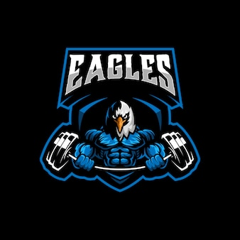Eagle gym logo template vector