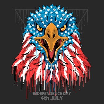 Eagle head americaアメリカ国旗独立記念日、ベテランズデー、記念日エレメント Premiumベクター