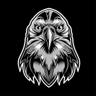 Eagle head logo on black background
