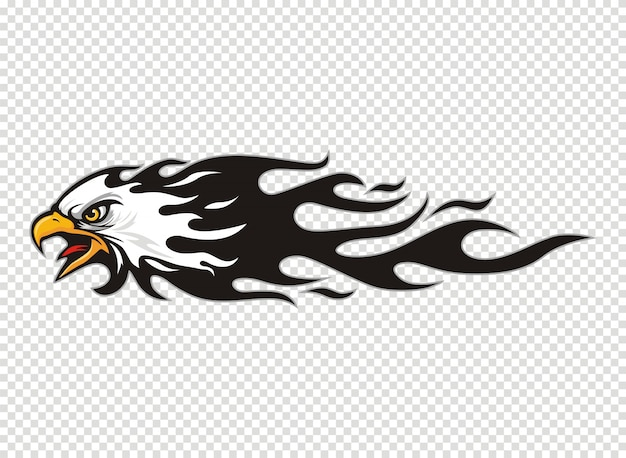 Eagle head logo with flame