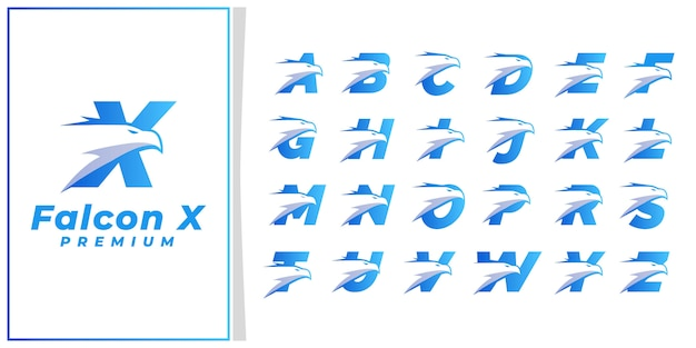 Начальная буква eagle head logo премиум синий серебро