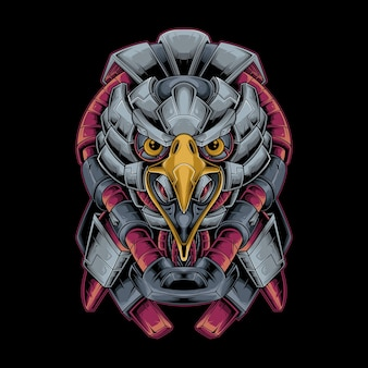 Eagle head mecha vector illustration