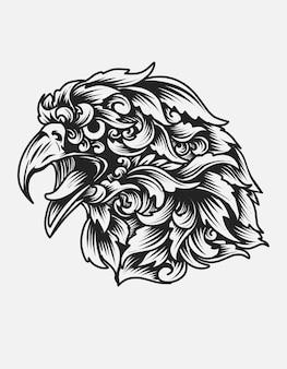 빈티지 장식으로 독수리 머리 장식 스타일