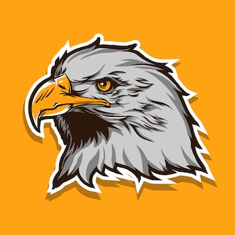 Eagle head vector illustration isolated on yellow