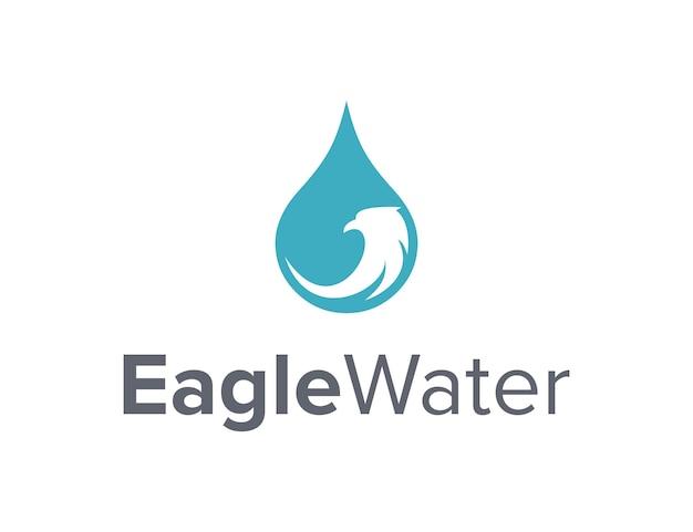 Eagle head and water drop simple sleek creative geometric modern logo design