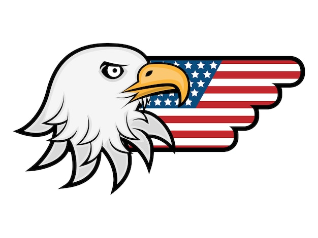 Eagle head with america flag wings