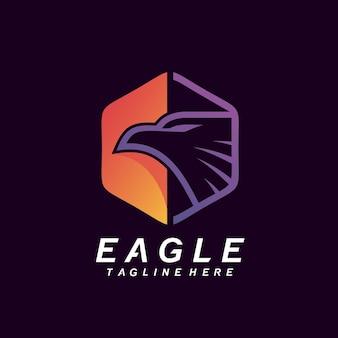 Eagle in hexagonal logo design