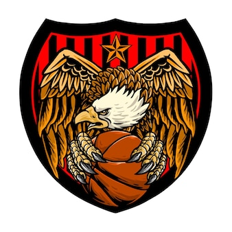 독수리 농구 클럽 로고 농구 공을 잡고