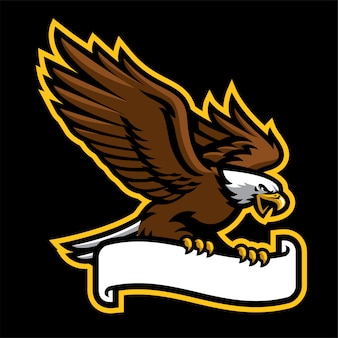 Eagle hold the ribbon in logo style
