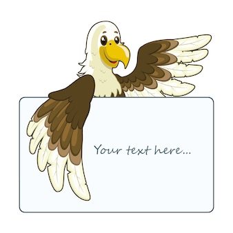Eagle holding a card template