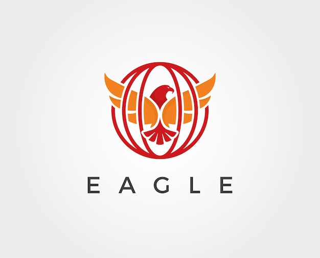 Eagle hunting eagle with negative space on white background vector illustration