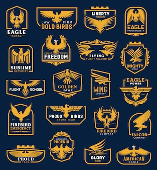 Eagle icons, heraldic badges, corporate identity