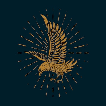 Eagle illustration in golden style on dark background.  element for poster, card, sign, print.  image