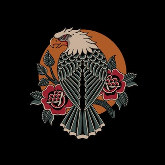 Eagle illustration with traditional tattoo style