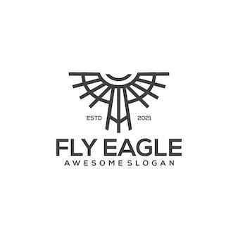 Шаблон логотипа eagle line art