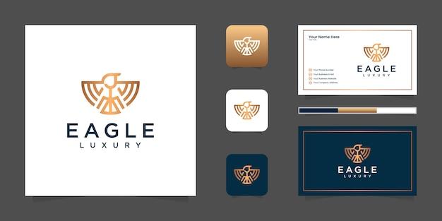 Роскошный логотип линии орла и визитная карточка