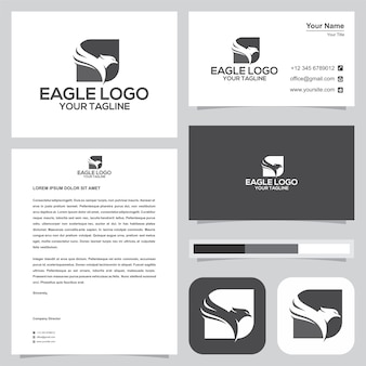 Eagle logo and business card. premium vector