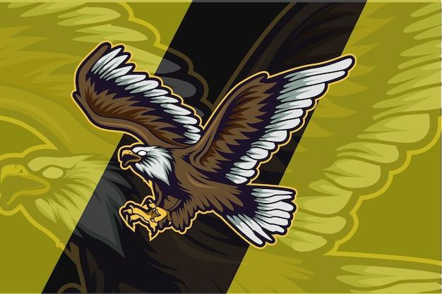 スポーツクラブやチームのイーグルロゴ。動物のマスコットのロゴタイプ。テンプレート。ベクトルイラスト