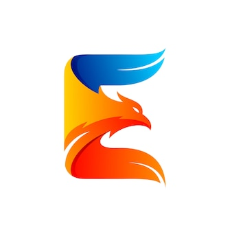 Eagle logo formed letter e