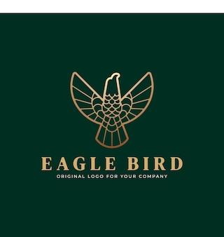 Логотип орла в полосатом стиле с золотыми цветами