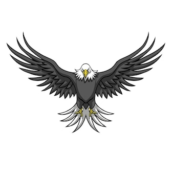 Eagle logo mascot spread the wings vector illustration